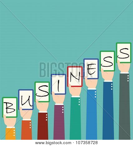 Businessman Hold Business Wording Tag