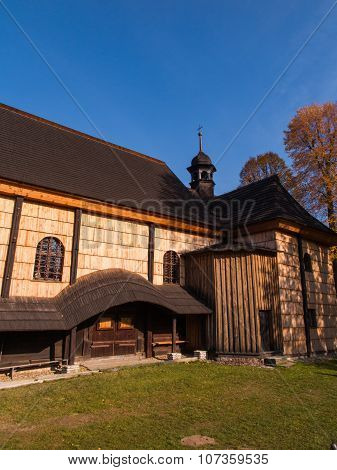 Illuminate The Old, Dark Wooden Church Of The Holy Trinity In Koszecin, Poland