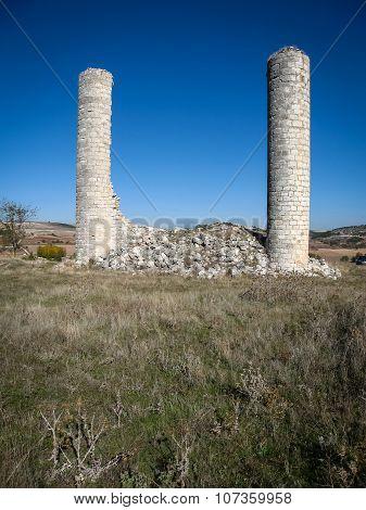 Ruins Of A Castle At Canillas De Escueva, Spain