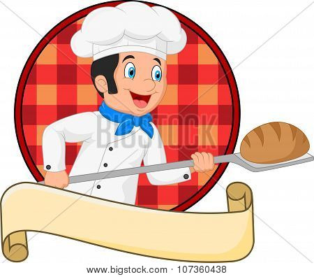 Little chef baker holding bakery peel tool with bread