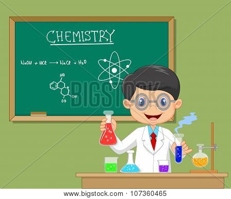 Laboratory researcher - Isolated scientist boy in lab coat with chemical glassware