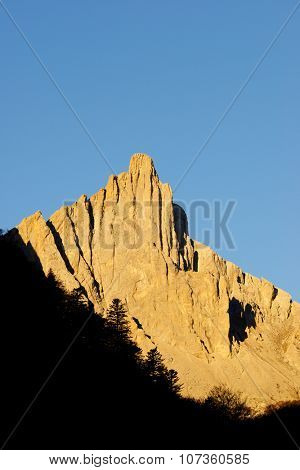 Grand Aiguille Ansabere Peak in Lescun Cirque. Aspe Valley, Pyrenees, France.