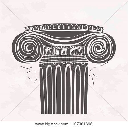 Stylized Antique column in sketch style on a grunge background.