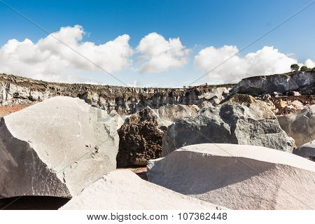 Volcanic Rocks In A Sicilian Quarry.