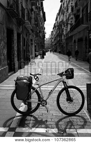 Way of Saint James biking  in Pamplona Calle Mayor street Spain