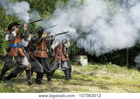 CESKY RUDOLEC. CZECH REPUBLIC -  9th July 2011 Musketeers in period dress firing rifles.