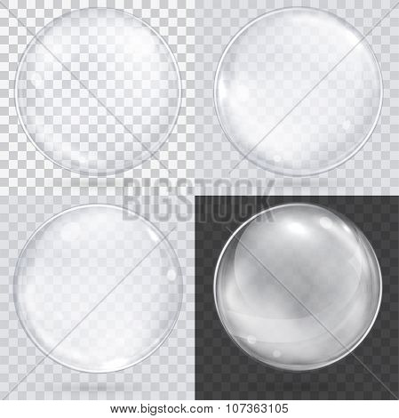 White Transparent Glass Sphere On A Checkered Background. Set Of 4 Spheres