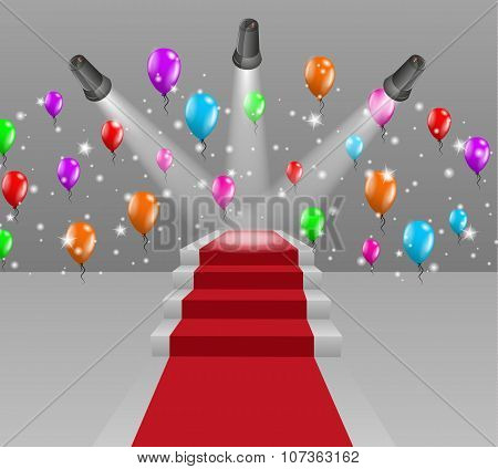 Stairs With Red Carpet And Three Lights