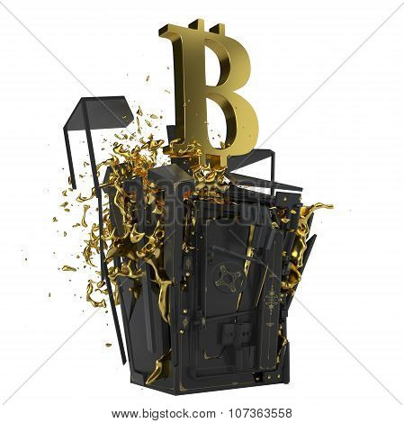 Golden Bitcoin. Path included. Perfect for advertising models. Save in days of sales.