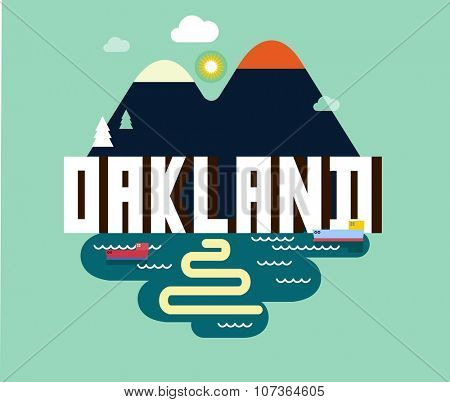 Oakland destination brand logo. vector cartoon