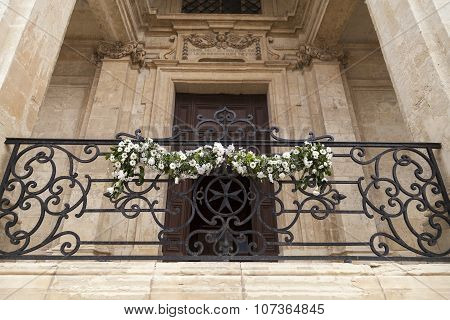 Adorned With Flowers Balcony Of The Church Of St Catherine In Capital Of Malta - Valletta, Europe