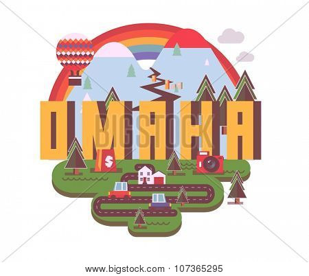 Omaha destination brand logo. vector cartoon