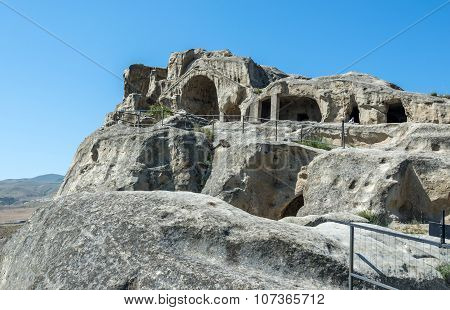 Uplistsikhe , Georgia - July 21, 2015: ancient rock-hewn town called Uplistsikhe
