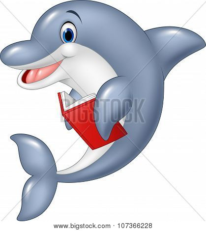 Cartoon dolphin holding book isolated on white background