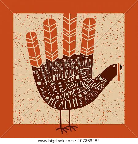 thanksgiving card design with theme message and cute hand print turkey