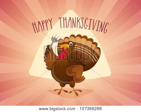 Happy Thanksgiving Day celebration with cute Turkey holding a fork on abstract rays background.