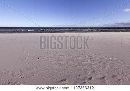 Empty seashore in spring.
