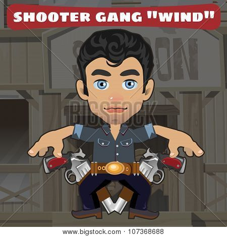 Cartoon character in Wild West - shooter gang Wind