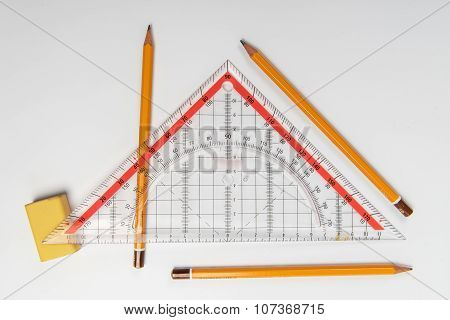 Simple Pencils, Eraser And Ruler Triangle