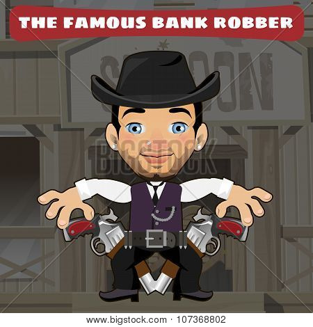 Cartoon character in Wild West - bank robber