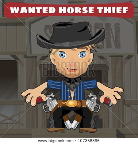 Cartoon character in Wild West - horse thief