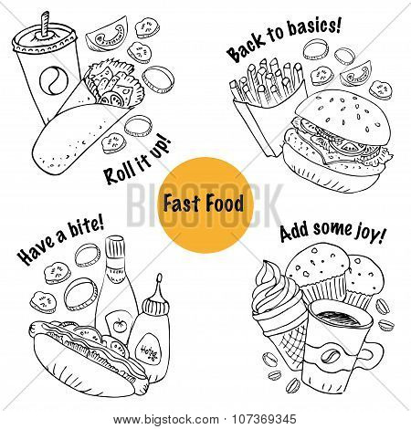 Vector Fast Food Sets Line Art Style