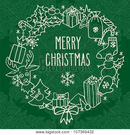 Christmas Wreath With Greetings