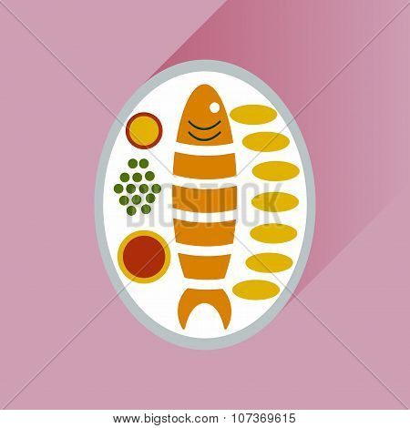 Flat with shadow Icon fish on plate garnish