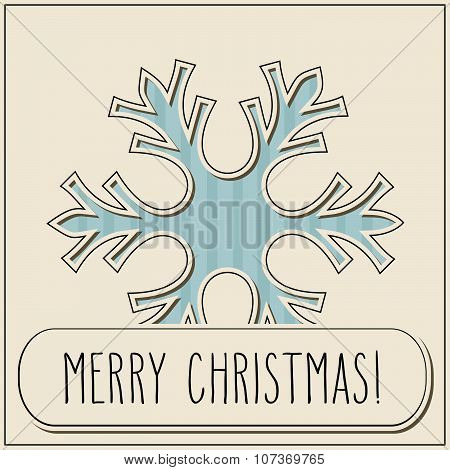 Vintage Cut Snowflake And Merry Christmas