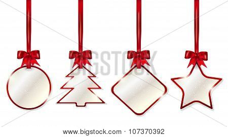 Set Of Shiny Christmas Price Tags With Red Bows