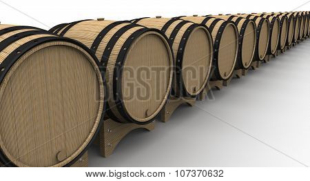 Oak barrels in a row