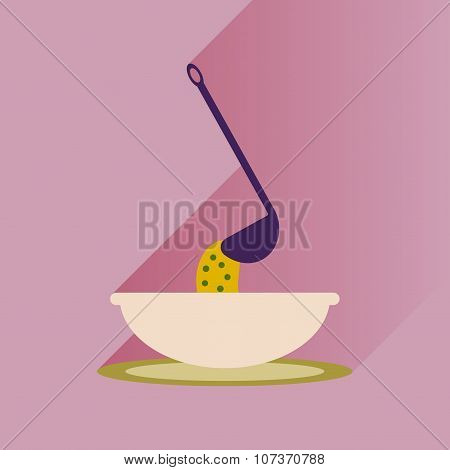 Flat with shadow Icon plate soup ladle
