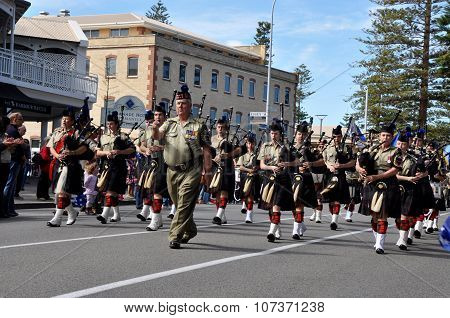 Anzac Day Parade of Bagpipers: Fremantle,Western Australia
