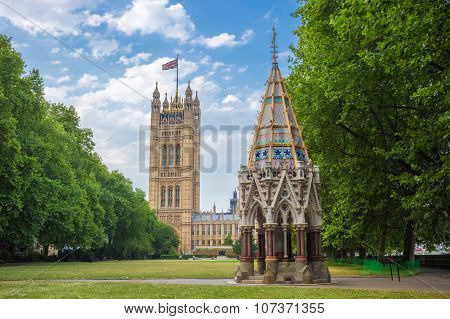 Victoria Tower (Houses of Parliament) and Buxton Memorial Fountain shot from Victoria Tower Gardens,