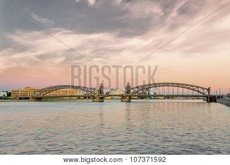 Bolsheokhtinsky Bridge In Saint Petersburg