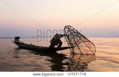 Fishermen In Inle Lakes Sunset, Myanmar.