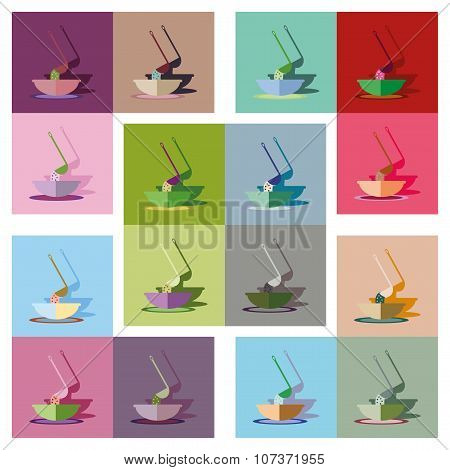 Modern flat icons vector collection with shadow plate soup ladle