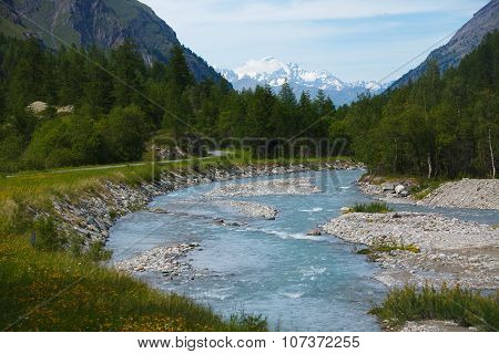 River in Rhemes Notre Dame, Mont Blanc, Aosta, Alps, Italy