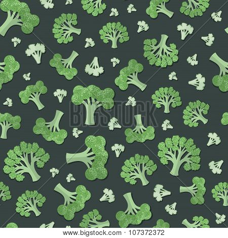 A Set Of Vegetables Patterns In A Flat Style - Broccoli And Caulifower