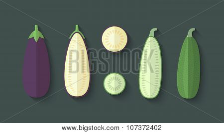A Set Of Vegetables In A Flat Style - Eggplant And Zucchini