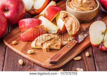 Red Apples And Peanut Butter For Snack