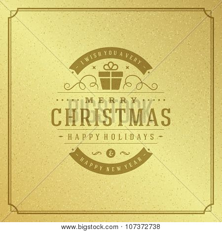 Merry Christmas Typography Greeting Card Design and Holidays wish Vector Background