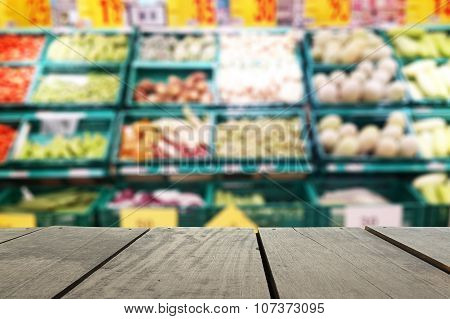 Defocus And Blur Image Of Terrace Wood And Supermarket Blur Background In Fruits And Vegetables Devi