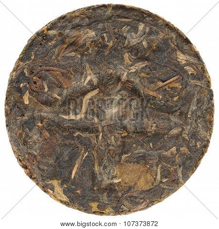 Myanmar Kokang Puerh With Tea Hieroglyph On Surface Round Shape Isolated