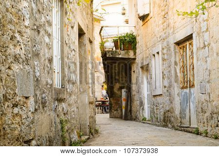 Budva, Montenegro, November, 1: tourists on the streets of the Old Town in Budva, Montenegro