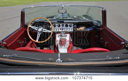 Pribram Czech Republic-8th August 2011:  sports car Jaguar E-Type S3 V12 engine red interior.