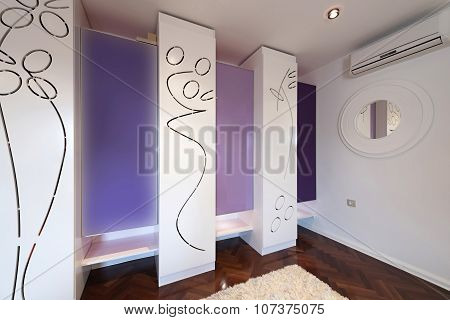 Interior Of A Modern Dressing Room With Modern Closet