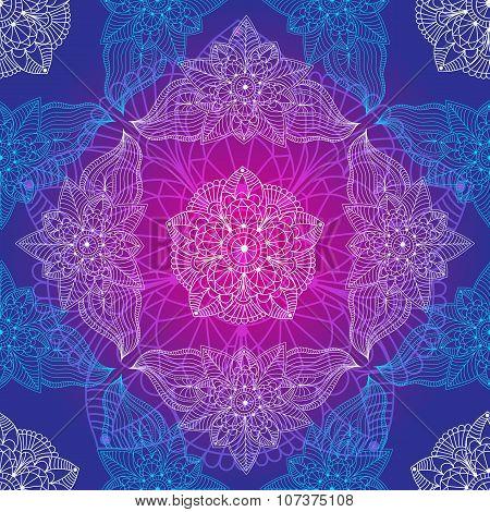 Vintage Violet-blue Seamless Pattern