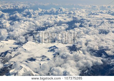 Flight Over The Alps, Flight Over The Alps, Snow-capped Alpine Peaks Visible Glacier.