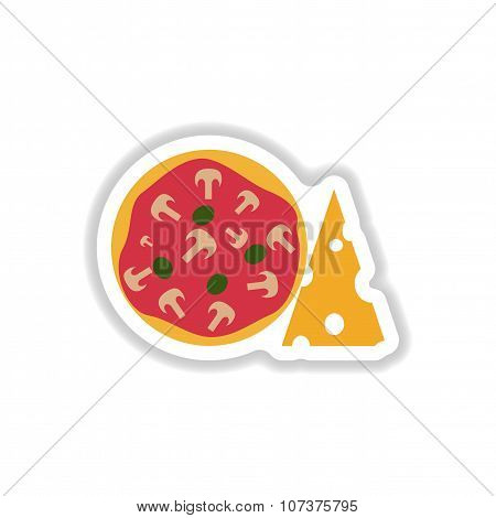 stylish paper sticker pizza with cheese and mushrooms